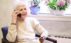 Golden-aged woman on the phone